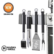 Yukon Glory Magnetic Grill Tool Set 4 Piece Stainless Steel Grilling, BBQ and Tailgating. Grilling Fork, Spatula, Tongs and Brush. The Ultimate GRILLING / BBQ ACCESSORIES