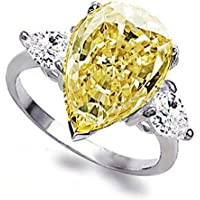 Promsup Pear Cut 3.2ct White Yellow Topaz 925 Silver Wedding Engagement Ring Size 6-10 (10)