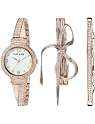 Anne Klein Women's AK/3256RGST Swarovski Crystal Accented Rose Gold-Tone Bangle Watch and Bracelet Set