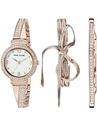 Womens AK/3256RGST Swarovski Crystal Accented Rose Gold-Tone Bangle Watch and Bracelet Set