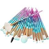 Pinceles de maquillaje 20 piezas Brillante y Transparente Azul Rosado de color Unicornio Maquillaje cepillos Cosmético Fundación Ojo Cara Sonrojo Cepillos