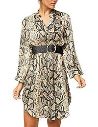 a04f2b2d393 Generic Women s Casual Floral Button Down Loose Slit Lapel Party Mini Dress