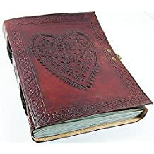 leather journals by ANUENT Leather Large Vintage Heart Embossed Leather Journal Notebook Diary (Handmade Paper) - Coptic Bound With Lock Closure