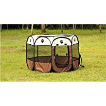 Portable Foldable Pet Playpen Dog Cage Exercise Kennel Cats Indoor/outdoor Removable Mesh Shade Cover Eight Pannel Mayco Bell (363623 Height Inches, Coffee White)