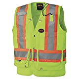 Pioneer V1010340-M Waterproof Heavy-Duty High Visibility Surveyor Safety Vest, Yellow-Green, M