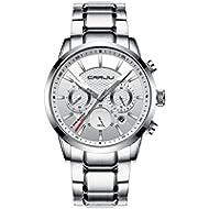 CUENA Men's Waterproof Quartz Watch Fashion Stainless Steel Stopwatch Classic Business Wrist...