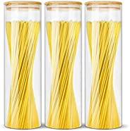 Glass Jars with Bamboo Lids EcoEvo, Glass Food Storage Containers, Large Glass Bamboo Jars with Lids, Glass sp