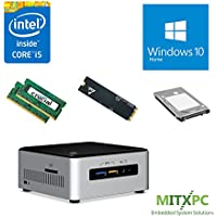 Intel BOXNUC6i5SYH Core i5-6260U NUC Mini PC w/ 32GB, 512GB M.2 SSD, 1TB 2.5 HDD, Windows 10 Home - Configured and Assembled by MITXPC