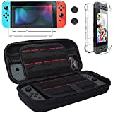 Nintendo Switch Case,Carrying Case with 20 Game Cartridges,[ Switch Crystal Hard Back Clear Cover and Tempered Glass Screen Protector, Full-body Protective Set for Nintendo Switch,2 Thumb Grips Caps ]