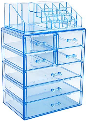 Organizador De Maquillaje 3 cajones grandes 4 pequeños azul
