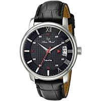 Lucien Piccard Men's LP-40019-01 Amici Stainless Steel Watch with Black Leather Band