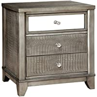 Custom Grey Wood Divonne Modern Crocodile Silver 3-Drawer Nightstand