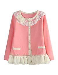 Richie House Girls' Sweet Cardigan with Braided Placket Size 2-8 RH1432