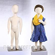 (JF-CH01T) New Child Dress Form 1 year old white jersey form cover, with head, flexible arms, fingers & legs, metal base by ROXYDISPLAY™