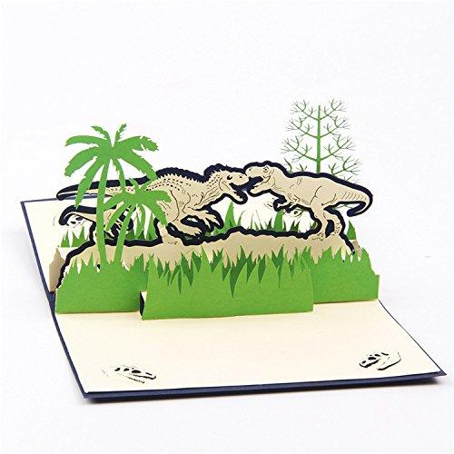 10pcs 3d Pop up Index card Jurassic Park Dinosaur Greeting Card for Kids
