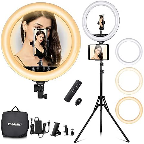 18in Ring Light with Stand, ELEGIANT Big Ring Light Kit 55W Dimmable 2800-6000K Circle Light with Tripod Phone/Pad Holders Remote Control Carrying Bag for Live Stream MUA mild Vlog TikTok Selfie Zoom
