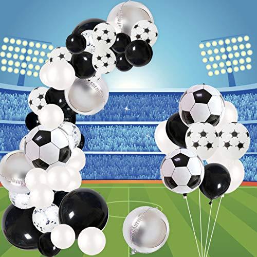 Jollyboom Decoraciones para Fiestas de futbol Globo Garland Kit para cumpleanos Baby Shower con Globos de latex de Papel de futbol