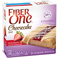 Fiber One Cheesecake Bar, Strawberry, 5 Count (Pack of 8)