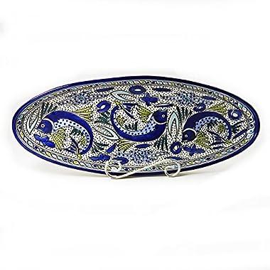 Le Souk Ceramique Extra Large Oval Platter, Aqua Fish Design