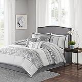 Madison Park MP10-2418 Bennett 7 Piece Comforter Set, Queen, Grey