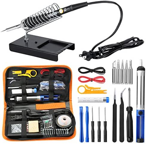 URCERI Soldering Iron Kit Electronics 26-in-1, 60W Adjustable Temperature Welding Tool, 6 pcs Soldering Tips with Desoldering Pump, Soldering IronStand, ESD Tweezers, Solder Wick, Wire Stripper Cutter