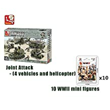 Bundle- Sluban Land Forces II Joint Attack - (4 vehicles and helicopter B0311 and 10 x WWII mini figure B0580. (Brand New in Original English Box) 100% LEGO Compatible Toy - Building Bricks