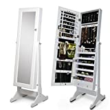 Organizedlife White Mirror Jewelry Armoire Lockable Jewelry Cabinet Stand