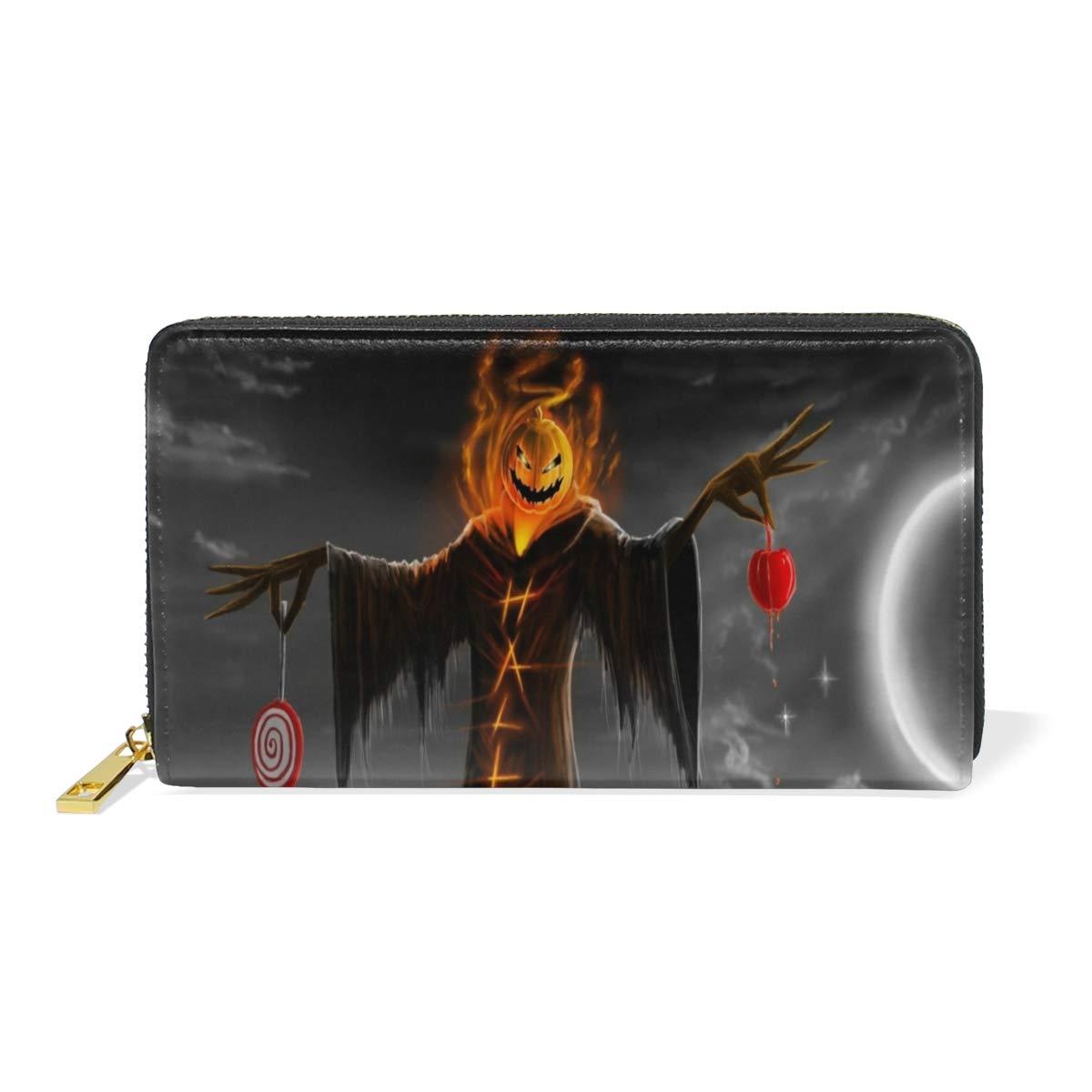 Show color 1 Women Genuine Leather Wallet Halloween Tree Moon Zipper Purse Girl Phone Clutch