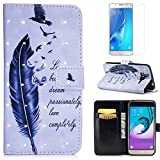 For Samsung Galaxy J3 2016 J320 Case with Card Slot,OYIME [Bird Feather and Saying] 3D Glitter Pattern Design Bookstyle Leather Wallet Holster Kickstand Function Full Body Protective Bumper Magnetic Closure Flip Cover with Wrist Lanyard and Screen Protector