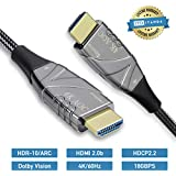 Fiber HDMI Cable 4k 25ft, Nylon Braided HDMI Fiber Optic Cable Supports 4K @ 60Hz (4:4:4, Dolby Vision, HDR), High Speed 18Gbps, 3D Slim and Flexible
