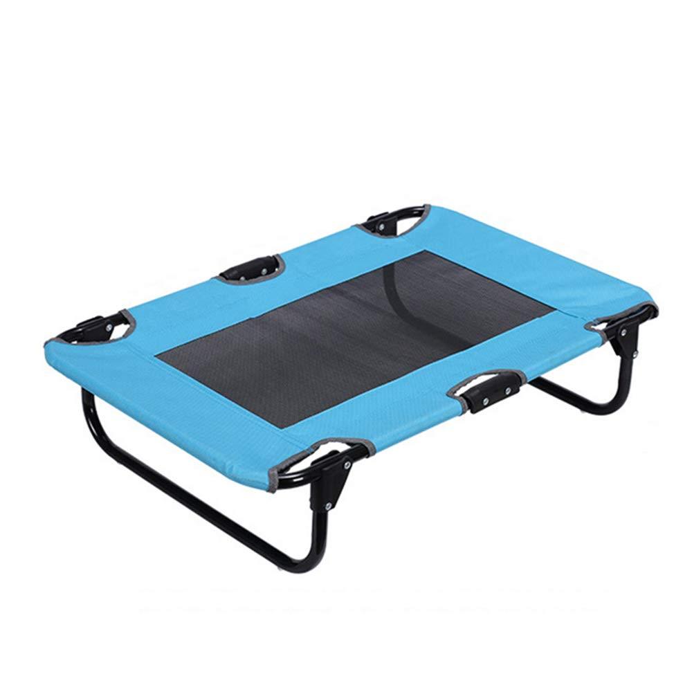 bluee LIZONGFQ Dog Cat Puppy Pet Elevated Raised Cot Bed Portable Camping Basket Raised Outdoor Indoor Mesh Pet Cot Metal Frame Pink (Medium),bluee