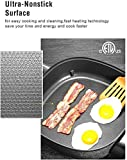 """Electric Skillet Non Stick Electric Frying Pan with Standing Tempered Glass Lid, Family Sized 6 Quart, 3 Inch depth, Heat Resistant Handles, 1360W, 12"""" x 12"""" x 3"""",Tibek"""
