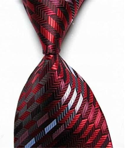 Allbebe Men's Classic Wine Red Jacquard Woven Silk Tie Microfiber Formal Necktie