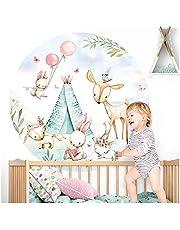 Little Deco Muursticker kinderkamer muurschilderij bosdieren met ballon muursticker baby wanddecoratie speelkamer muursticker slaapkamer behang zelfklevend DL621