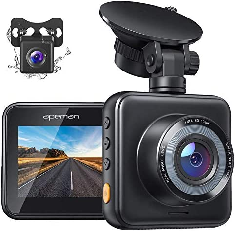 APEMAN Dual Dash Cam Front and Rear, 1080P Full HD Dash Camera for Cars, Waterproof Backup Camera, 170° Wide Angle Driving Recorder with G-Sensor, Parking Monitor, Loop Recording, WDR, Night Vision