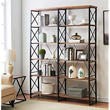 """O&K Furniture 80.7"""" Double Wide 6-Shelf Bookcase, Industrial Large Open Metal Bookcases Furniture, Etagere Bookshelf for Home & Office, Vintage Brown"""