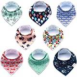 Premium Bandana Bibs for Boys Extra Soft - 8-Pack Baby...