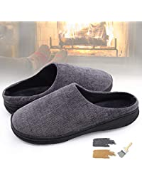 YOUKADA Men's House Slippers Memory Foam, Anti-Slip Corduroy Sandal Winter, Boys Shoes Indoor Outdoor, Male Plush Slippers with Hard Sole