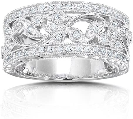Kobelli Vintage Style Diamond Fashion Floral Band 1/4 carat (ctw) in 14K White Gold