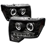 Spyder Auto PRO-YD-FF15009-HL-BK Ford F150 Black Halo LED Projector Headlight with Replaceable LEDs