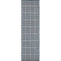 Momeni Rugs BAJA0BAJ-4NVY2376, Baja Collection Contemporary Indoor & Outdoor Area Rug, Easy to Clean, UV protected & Fade Resistant, 23 x 76 Runner, Navy Blue