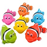 "Go Fishing! Bath Toys - 12 Pack Squirting Bath Toys 3"" Rubber Clown Fish Squirts Baby and Children Toys in Assorted Vivid Colors 1 Dozen"