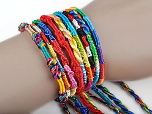 Wholesale Handmade Bracelet,Hemlock Women Girl's Colorful Rope Bracelet (20pcs)
