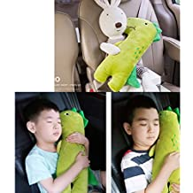Cute Doll Car Seat Strap Belt Cushion Cover for Kids Children, Adjustable Pillow Pad Vehicle Car Safety Belt Toy Pet Protect Shoulder Chest Child (DinoGreen)