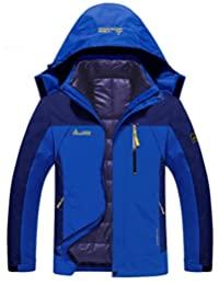 Mens 3-in-1 Outdoor Coats Waterproof hooded Jacket with Detachable Cotton Liner
