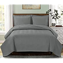 """Chervon-Grey- King/Cal King Size, Over-Sized Quilt 3pc set, Luxury Microfiber Coverlet 110""""x96"""" 2- Pillow Shams 20x36"""""""