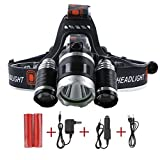 Super Bright Headlamp MECO 3XT6 Headlamp 1800 Lumen Flashlight Bright LED Headlight waterproof Torch with Rechargeable Batteries and Wall Charger + Car Charger for Hiking Camping Riding Fishing