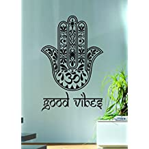 Leemall Good Vibes Hamsa Hand Decal Sticker Wall Vinyl Art Blessings Power Strength Om