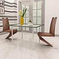 SKB Family Set of 2 Brown Artificial Leather Cantilever Chair with H-shaped Foot