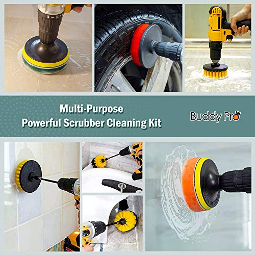 Scouring Pad Brush Electric Drill Clean Kitchen Floor Hard: Deal 16 Piece Drill Brush Attachments Set, 5 Inch Scrub